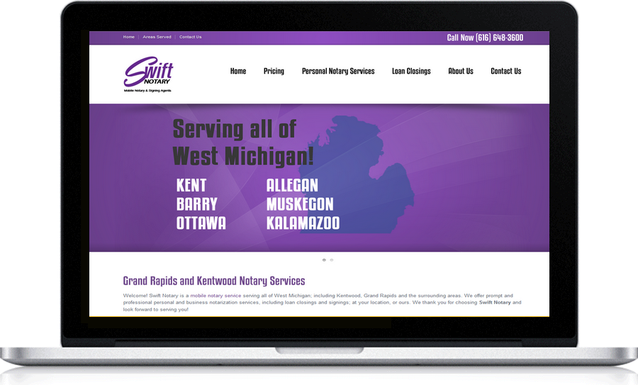 Swift Notary local Grand Rapids Web Designer Pegasus Ventures Michigan