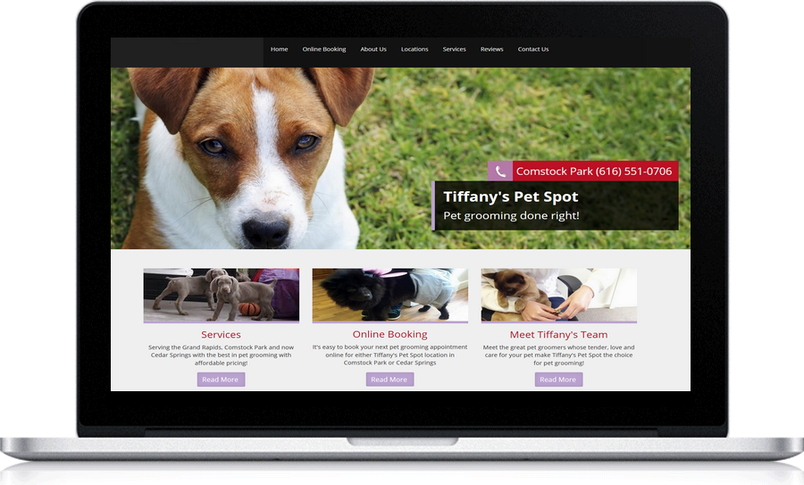Tiffany's Pet Spot uses Pegasus Ventures , local  web design company